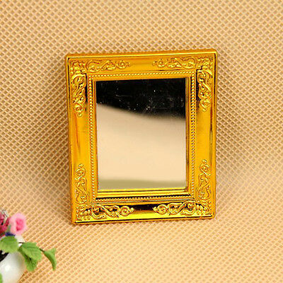 1:12 Dollhouse Golden Square Framed Mirror for Dollhouse Miniature Accessory