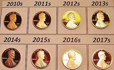 All 8 DCam Proof Shield Cents 2010s 2011s 2012s 2013s 2014s 2015s 2016s & 2017s