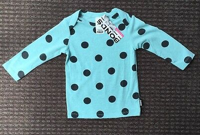 Bonds Baby Girl Green Long Sleeve Top With Black Spots Size 00 3-6 Mth BNWT New