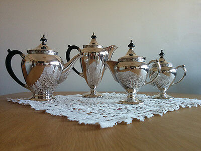 "VINTAGE TEA SERVICE - 4 Piece Silver Plate ""Du Barry"" by Paramount"