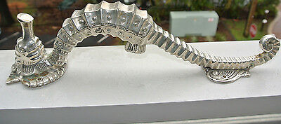 """Used small SEAHORSE solid brass door SILVER old style house PULL handle 10"""""""