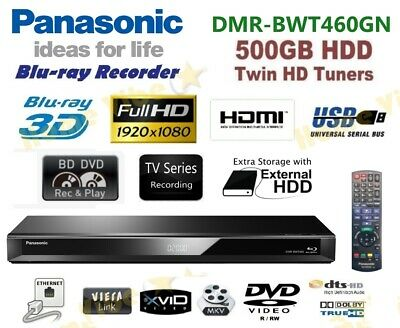 Panasonic Advanced 3D Blu-Ray / Dvd Recorder 500Gb Hdd Twin Tuner Dmr-Bwt460Gn