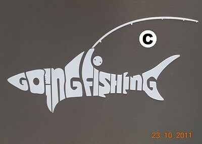 Going Fishing 4WD Shark Fishing Rod Reel Sticker White Decal