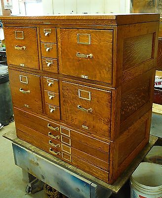 Antique Quarter-Sawn Tiger-Oak Library Card Catalog File Cabinet, 14 Dr FABULOUS