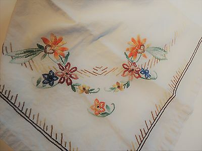 Vintage Swedish very large handwoven and hand embroidered linen tablecloth