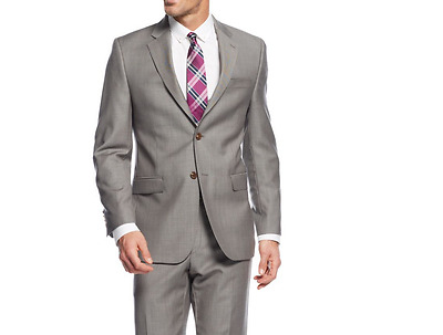 NEW Mens Ralph Lauren Taupe Sharkskin Slim Fit Wool Suit
