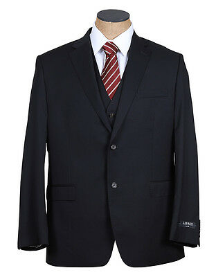 NEW Mens Ralph Lauren Solid Black Slim Fit 3 Piece Wool Suit