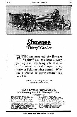 "1924 Shaw-Enochs Tractor Co,SHAWNEE ""30"" ~ EASTON Trailer & Fordson ~ 2 page ads"