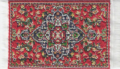 Small Turkish Carpet Rug Red Patterned Doll House Miniature, Mat Floor Accessory