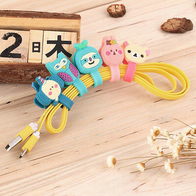 Headphone Earphone Earbud Silicone Cable Cord Wrap Winder Organizer Holder  WP