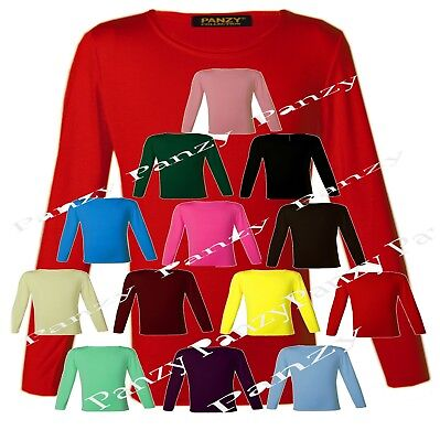 Girls Long Sleeve Plain Basic Tops Kids T-Shirt Crew Uniform  Pastel Colours