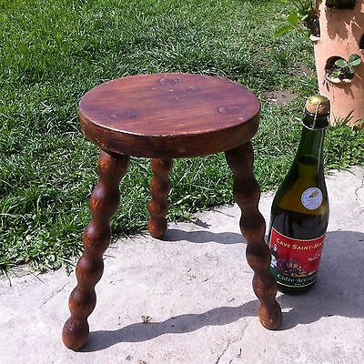 ANTIQUE Vintage French OAK Milking Stool 3 Spindle Legs Rustic Charming WOODEN