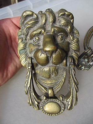 Victorian Brass Door Knocker Lion Head Architectural Antique Vintage Old Lions