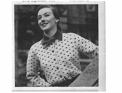 Vintage Crochet  Pattern for easy to make  Ladies Cardigan 1950's ~ Sizes 14 -16
