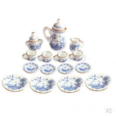 2x 1/12th Dining Ware China Ceramic Tea Set Dolls House Miniatures Blue Flower