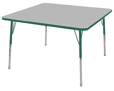 "ECR4Kids Classroom 30"""" x 30"""" Adjustable Square Activity Table Grey/Green - Sta"