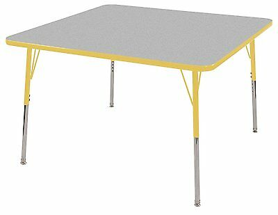 "ECR4Kids Classroom Adjustable Activity Table Square 30"""" x 30"""" Grey/Yellow Todd"