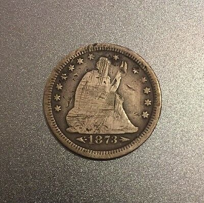 1873-P Seated Liberty Quarter With Carved Graffiti