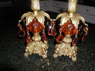 Vintage Amber Crystal  Prism  Candle Stick Pair Antique Brass Metal