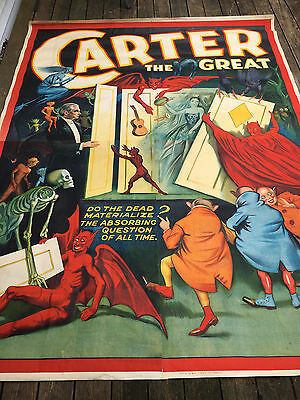 """Vintage 1920's  canvas - Carter the Great 80""""x106"""" Dead Materalize Magic poster"""