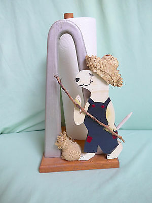 Bull Terrier Paper Towel Holder Folk Art Hand Made Fishing Dogs Country