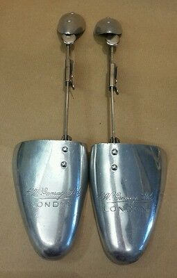 Vintage Pair SHOE TREES Gamage Ltd London Aluminium Metal Size 7-8 Adjustable