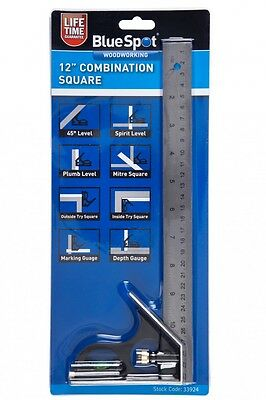 "12"" COMBINATION SQUARE with SPIRIT LEVEL & DEPTH GAUGE With LIFETIME GUARANTEE"