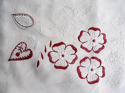 Swedish vintage 1880s cotton pillow case / cushion cover, red & white embroidery