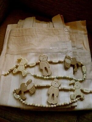 Mamas & Papas Once Upon A Time Theme Lined Curtains & Matching Wooden Tiebacks