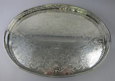 Hand Chased Silver Sheffield Plate Waiter's Tray with Pierced Gallery