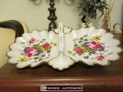Porcelain Plate Flowers For Sweets Vintage Fine Work and Color Germany (EP363)