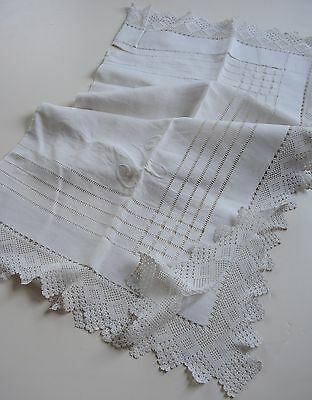 Antique Swedish vintage 1880s cotton tablecloth, beautiful handembroidery