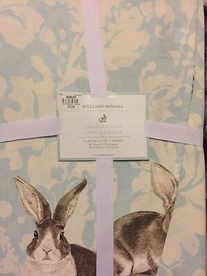 """1 Williams Sonoma Easter Bunny Damask Blue 70x90"""" Tablecloth NWT Rabbit Easter"""