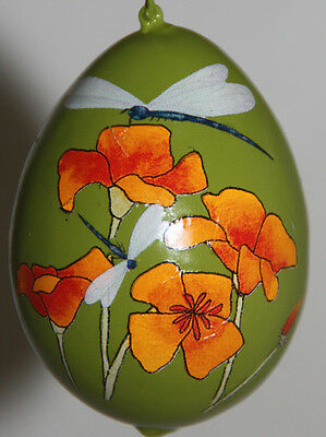 gourd Mother's Day gift, garden or Christmas ornament w/ poppies & dragonflies