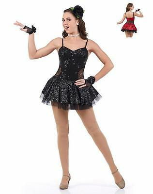 Fashionista Dance Costume BLACK Sequin Jazz Tap Ice Skating Dress Clearance