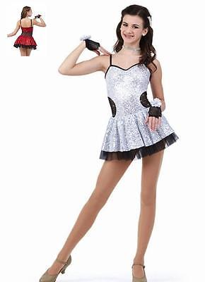 Fashionista Dance Costume WHITE Sequin Jazz Tap Ice Skating Dress Clearance