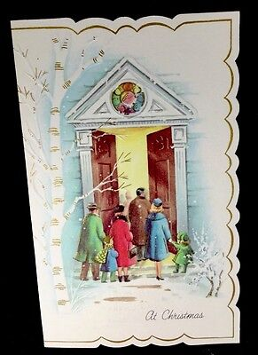 Vintage Christmas Greeting Card People Walking Into Church Mid Century