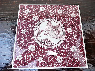 """Super Vintage English Bird And Flower Red And White Tile 6"""" X 6"""""""