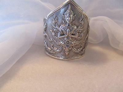 "Vintage~Antique Siam Thepanom Wide Cuff Sterling Silver Bracelet 2 3/8"" Tall"