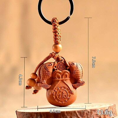 Chinese Feng Shui Geomancy Blessing Double Carp Wood Carving Statue Key Chain