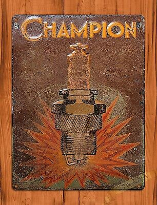 "TIN SIGN ""Champion Rustic"" Spark Plugs Advertisement Garage Wall Decor"