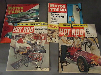 Lot Of 4 Vintage 50's & 60's Hot Rod & Motor Trend Magazines