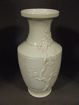 Vintage Ivory White Ceramic Embossed Cherry Blossom Vase Made In China