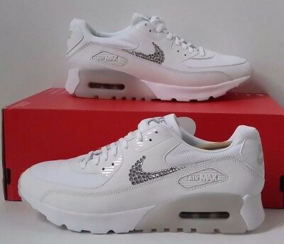 separation shoes 6544d 3d4e5 Nike Air Max 90 Ultra Essential White Swarovski Crystal Handmade 8 Nursing  Shoes