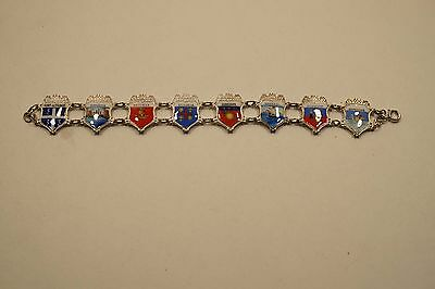 Vintage Sterling Reu Enamel W/ 8 Travel Destination Shields Bracelet  A741