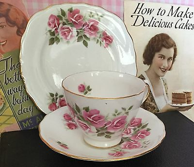 ANTIQUE VINTAGE TRIO CUP SAUCER PLATE CSP HIGH TEA Royal Vale England Pink Roses