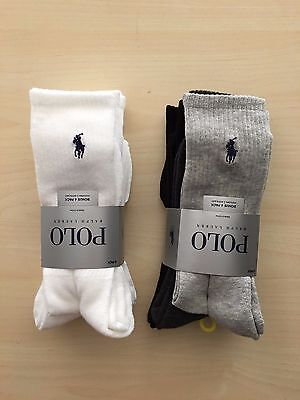NEW Polo Ralph Lauren 4 Pair Men's Casual Crew Socks Black White Gray