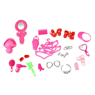 41Pcs/set Jewelry Necklace Earring Comb Shoes Crown Accessory Barbie Doll Gift