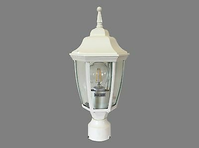 Set of 2 traditional cream outdoor pole post mounted coach lights / lanterns