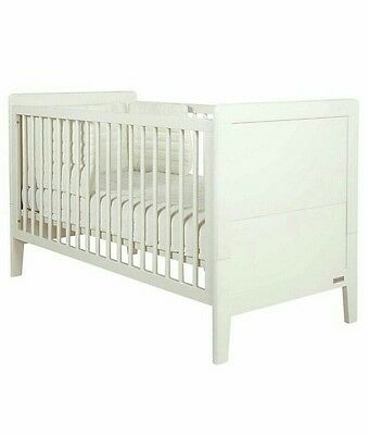 Mamas and Papas Coastline White Cot Bed - With Mattress